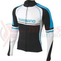 Tricou maneca lunga Shimano white/black/cyan blue