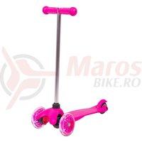 Trotineta cu roti iluminate WORKER Lucerino 120 mm roz