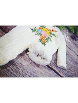 Combinezon crosetat alb floricele