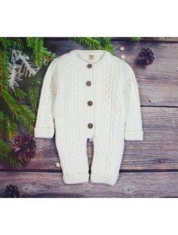 Combinezon crosetat lana baby alb