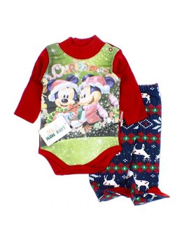 Compleu Craciun Mickey Mouse 3-9 luni B1289