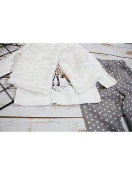 Compleu cu vesta de blanita alba
