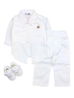 Costum botez 5 piese alb