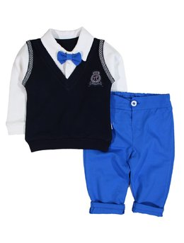 Costumas 2 piese papion albastru