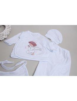 Costumas 5 piese alb-roz