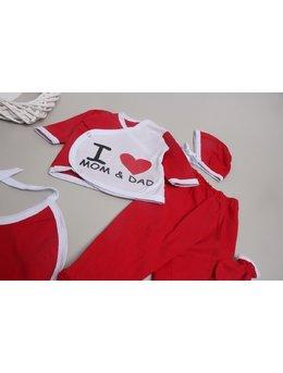 Costumas 5 piese I Love MOM DAD rosu