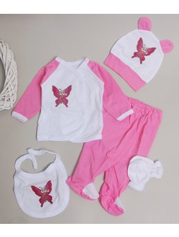 Costumas 5 piese roz fluturas