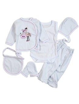 Costumas 6 piese fetita 0-1 luni F2229