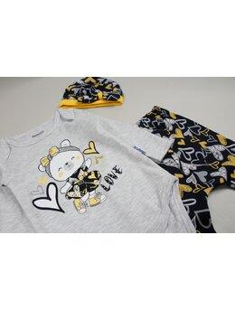 Costumas ursulica 3 piese gri-galben