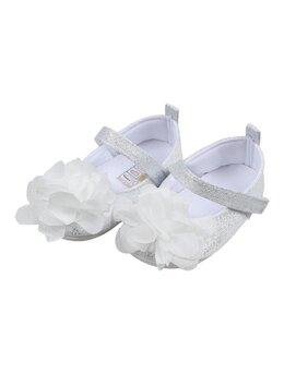Pantofiori cu floricica model alb