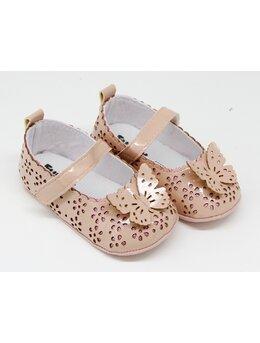 Pantofiori eleganti fetite cu fluturas model crem