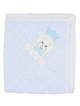 Patura crosetata bleu cu ursulet