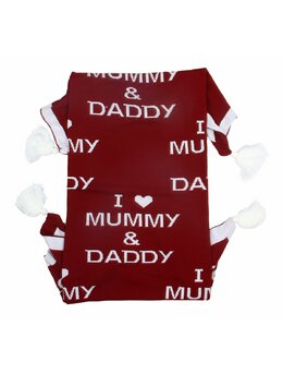 Patura crosetata I Love MUMMY & DADDY grena