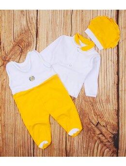 Salopeta 3 piese bebe galben