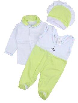 Salopeta 3 piese bebe verde