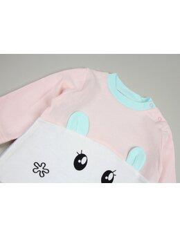 Salopetica baby roz-verde