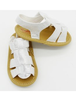 Sandale lejere fetita alb cu sclipici