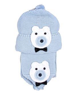 Set caciulita cu fular ursulet baiat bleu