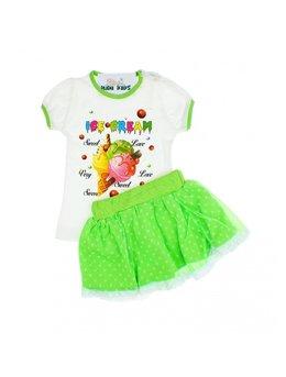 Tricou + fustita verde