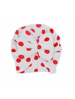 Turban alb cu buline rosii 3-9 luni