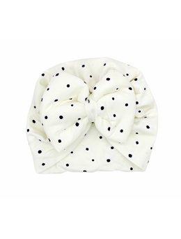 Turban alb cu floricele 3-9 luni