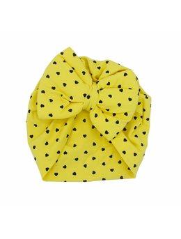 Turban galben cu inimi model 50