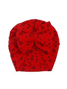 Turban rosu cu inimi goale model 91