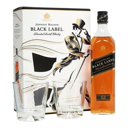 Johnnie Walker Black Label 12 YO + 2 pahare 0.7L