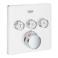 Baterie alba dus Grohe Grohtherm SmartControl termostatica cu 3 iesiri patrata