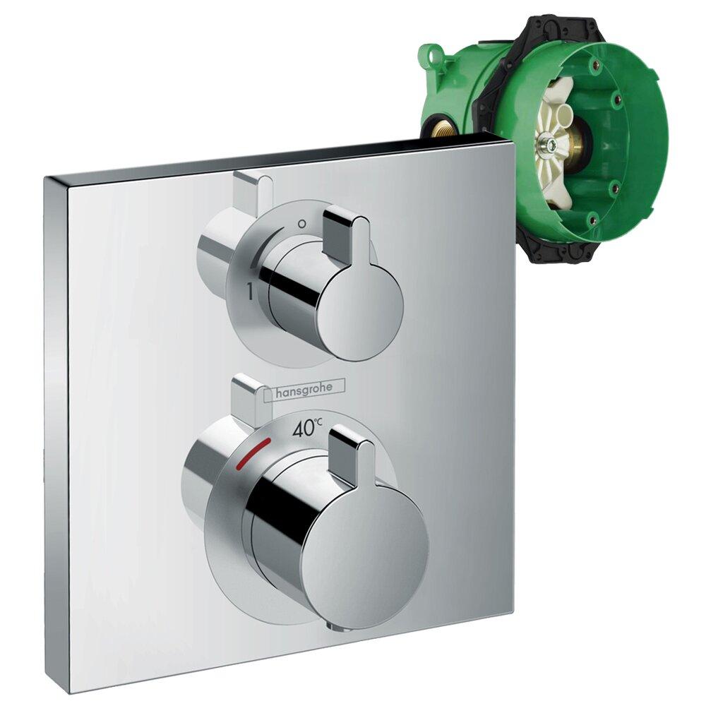 Set promo baterie dus termostatata Hansgrohe Ecostat Square cu montaj incastrat, doua functii + iBox