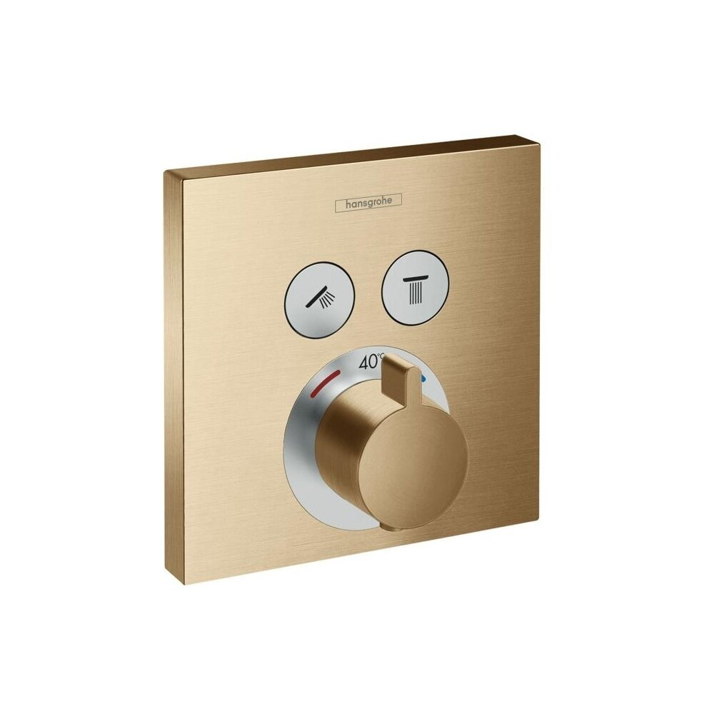 Baterie dus termostatata Hansgrohe ShowerSelect bronz periat incastrata imagine neakaisa.ro