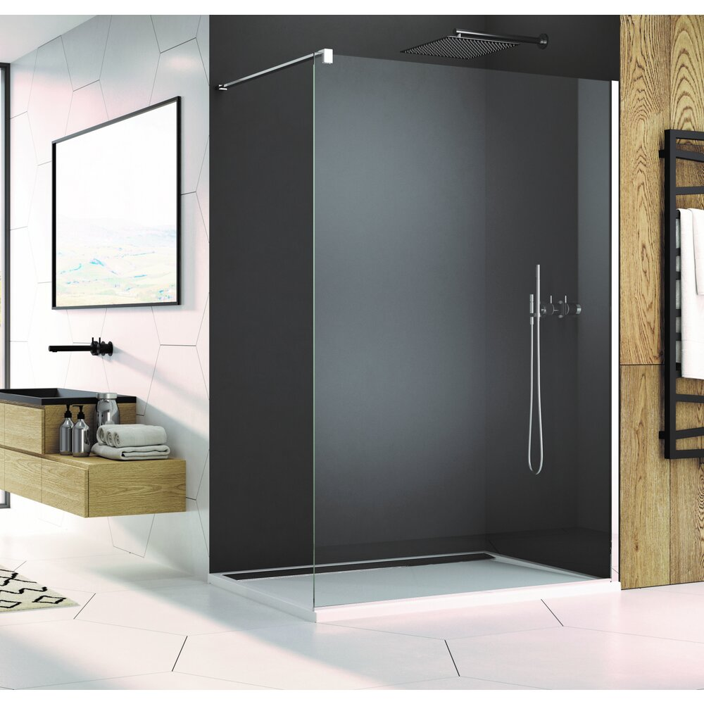 Cabina de dus Walk-In SanSwiss Easy STR4P 80 cm sticla securizata 8mm anticalcar imagine neakaisa.ro