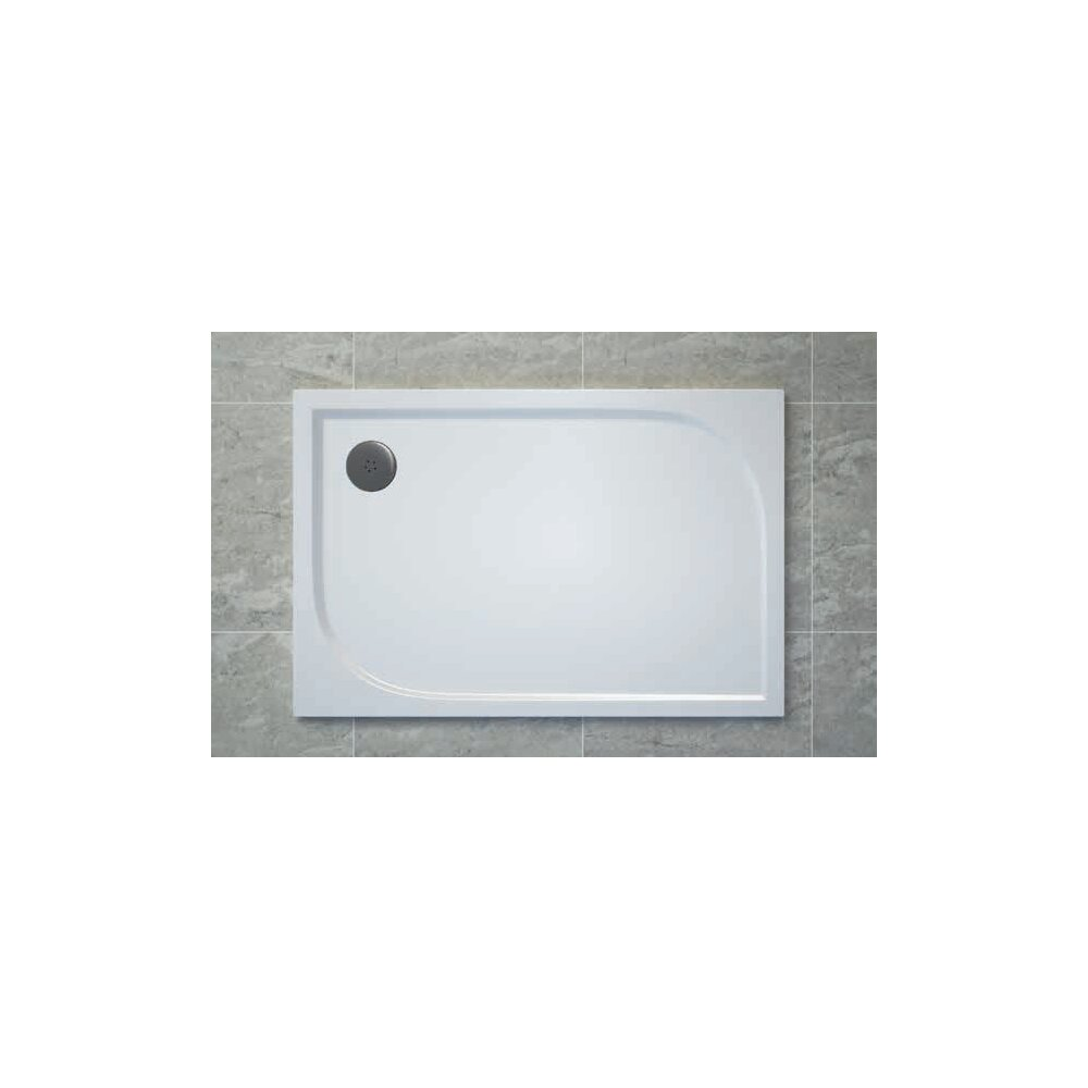 Cadita de dus dreptunghiulara SanSwiss Tracy WAA 90x120 cm slim marmura sintetica alb poza
