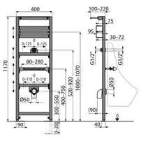 Cadru pentru pisoar Alcaplast cu spatiu de montaj senzor