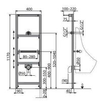 Cadru urinal cu inaltime de instalare 1.2m Alcaplast A107/1200