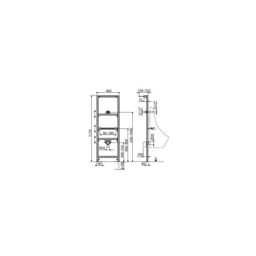 Cadru urinal cu inaltime de instalare 1.2m Alcaplast A107/1200 poza