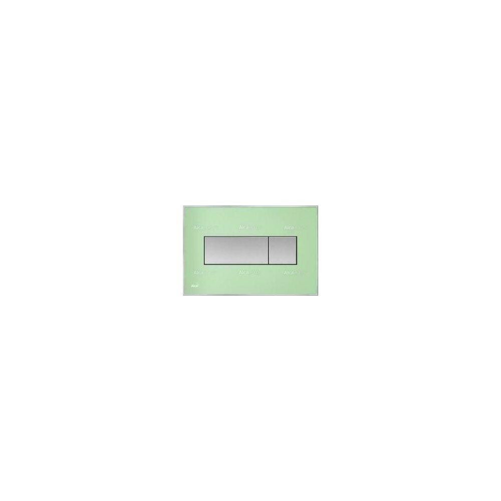 Clapeta de actionare Alcaplast pentru sistem de instalare ingropat, cu panou colorat inserat (Verde) - iluminat (Alb) title=Clapeta de actionare Alcaplast pentru sistem de instalare ingropat, cu panou colorat inserat (Verde) - iluminat (Alb)