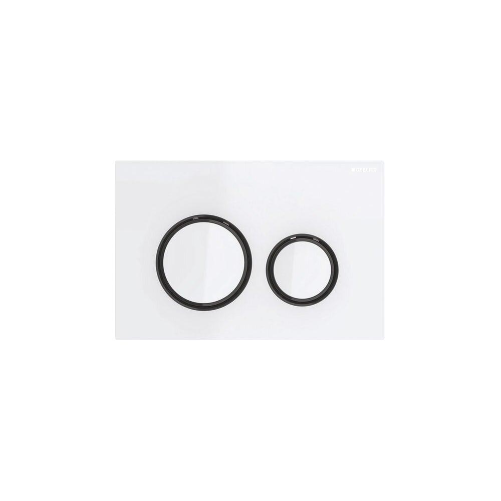 Clapeta de actionare Geberit Sigma 21 alb cu inel negru imagine