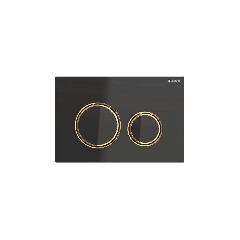 Clapeta de actionare Geberit Sigma 21 negru/inel auriu imagine neakaisa.ro
