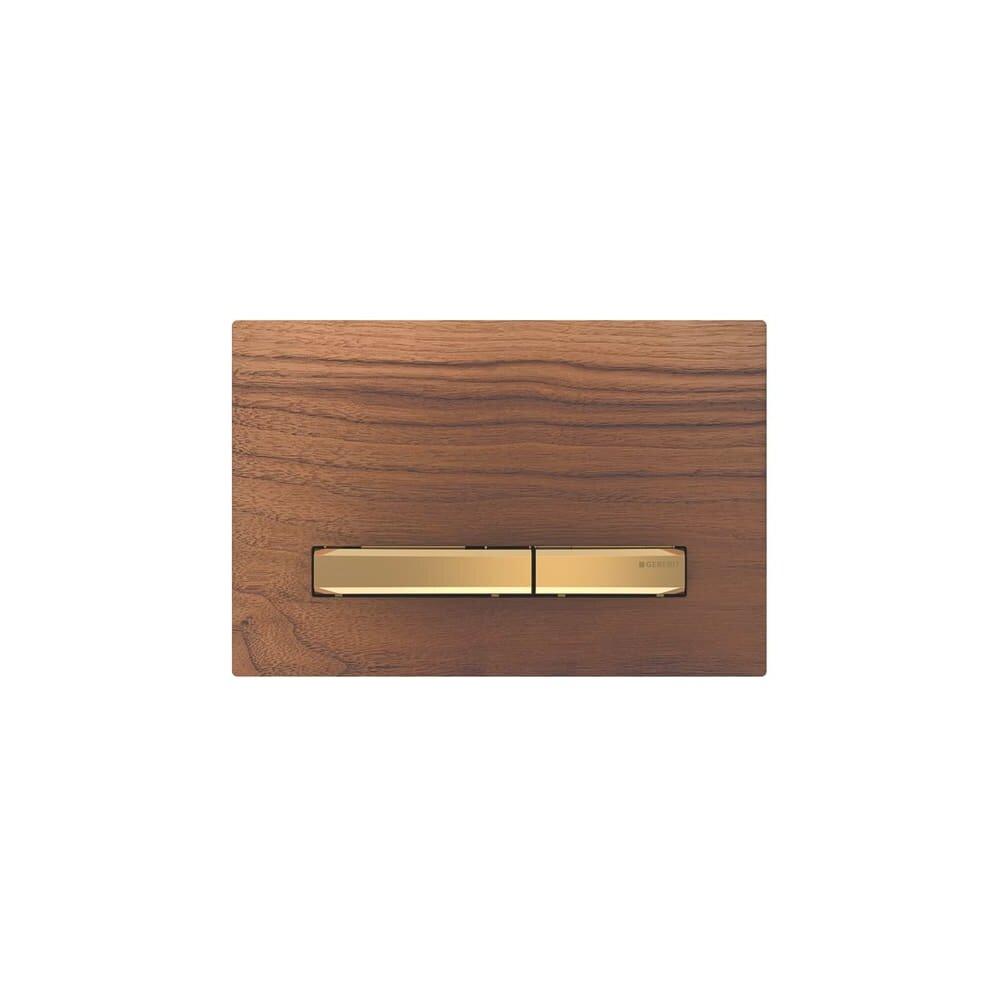 Clapeta de actionare Geberit Sigma 50 nuc american/butoane aurii