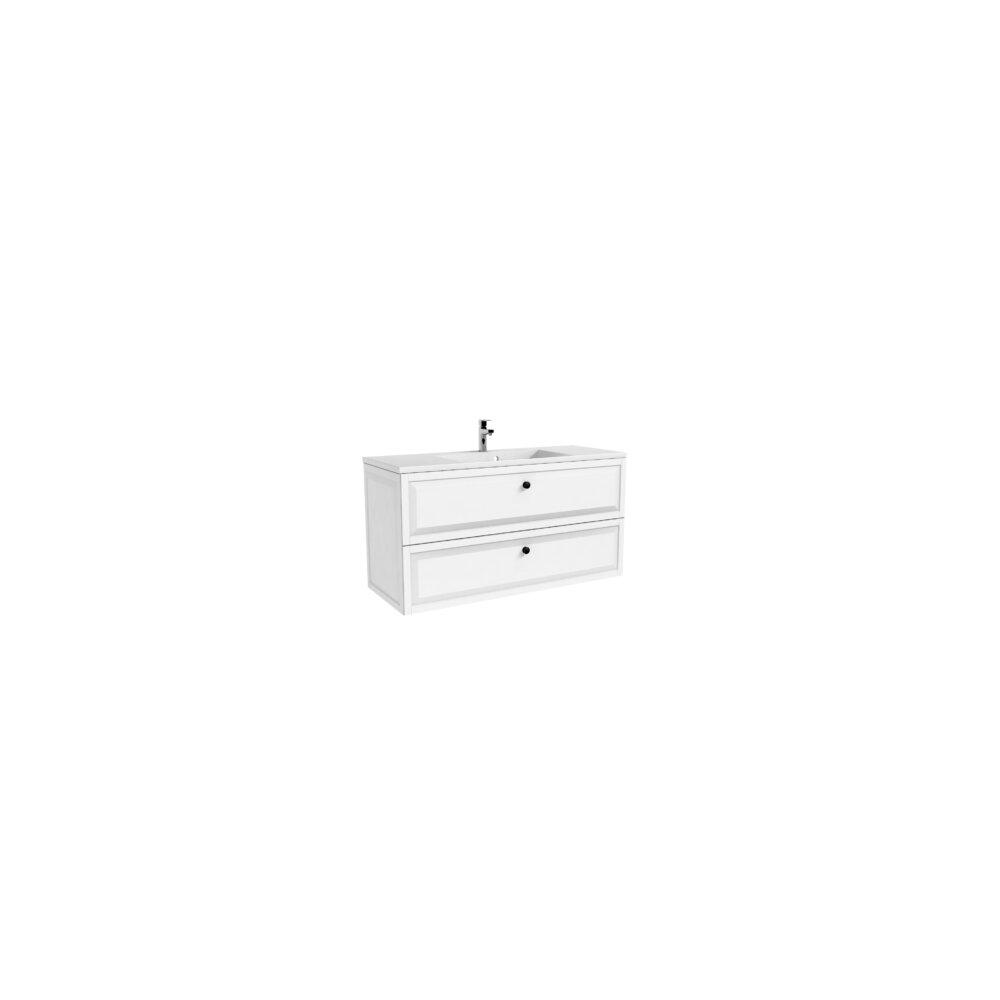 Dulap baza cu lavoar Oristo Montebianco 2 sertare alb mat 120 cm imagine