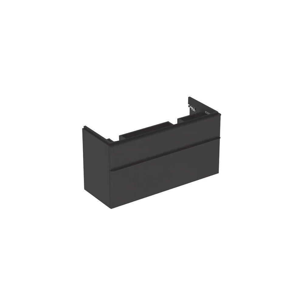 Dulap baza pentru lavoar dublu suspendat Geberit Smyle Square negru 2 sertare 119 cm neakaisa.ro