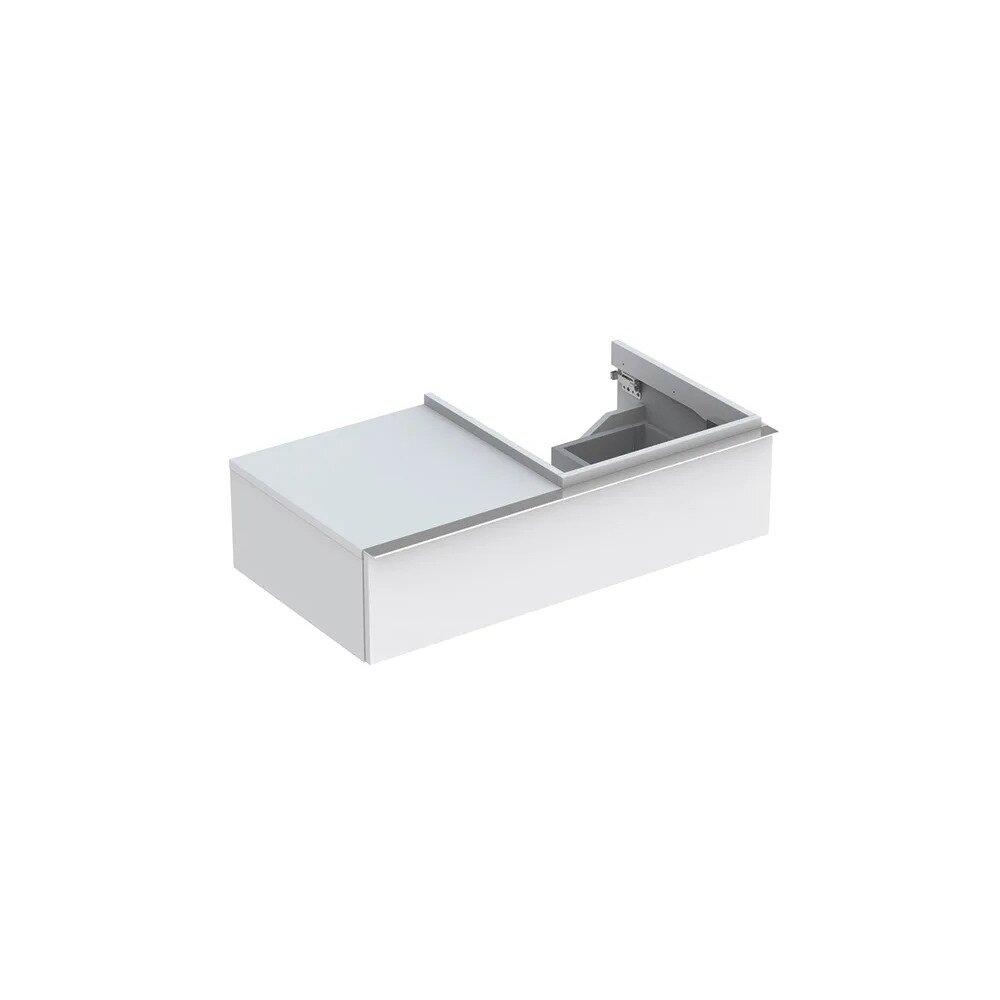 Dulap baza pentru lavoar suspendat alb mat Geberit Icon 1 sertar si 1 blat dreapta 89 cm imagine