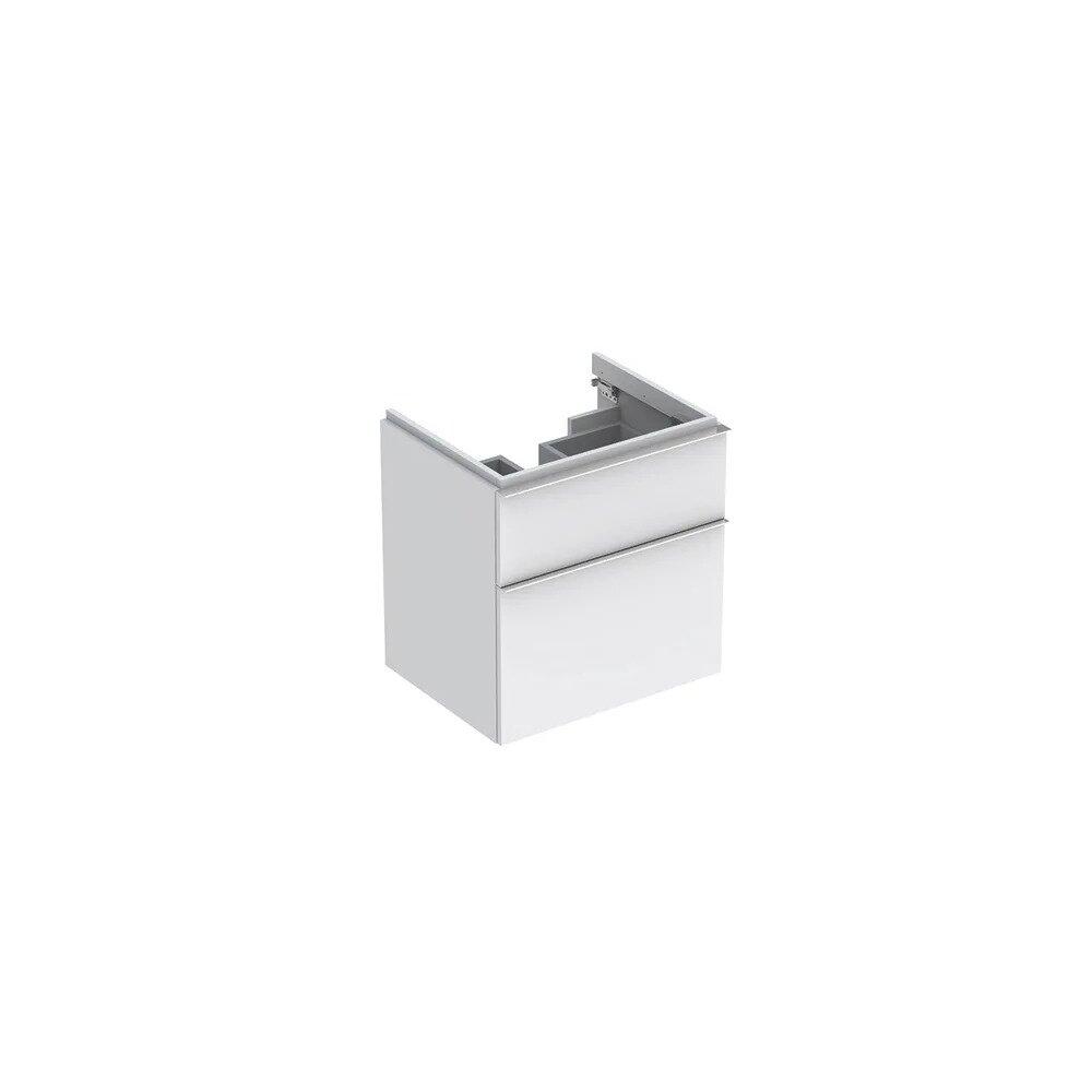 Dulap baza pentru lavoar suspendat alb mat Geberit Icon 2 sertare 60 cm