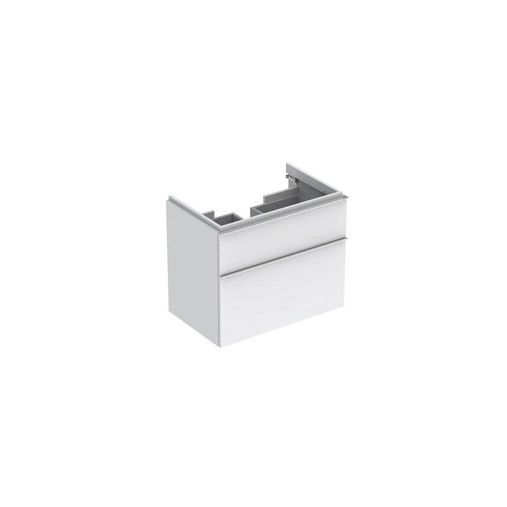 Dulap baza pentru lavoar suspendat alb mat Geberit Icon 2 sertare 74 cm imagine neakaisa.ro