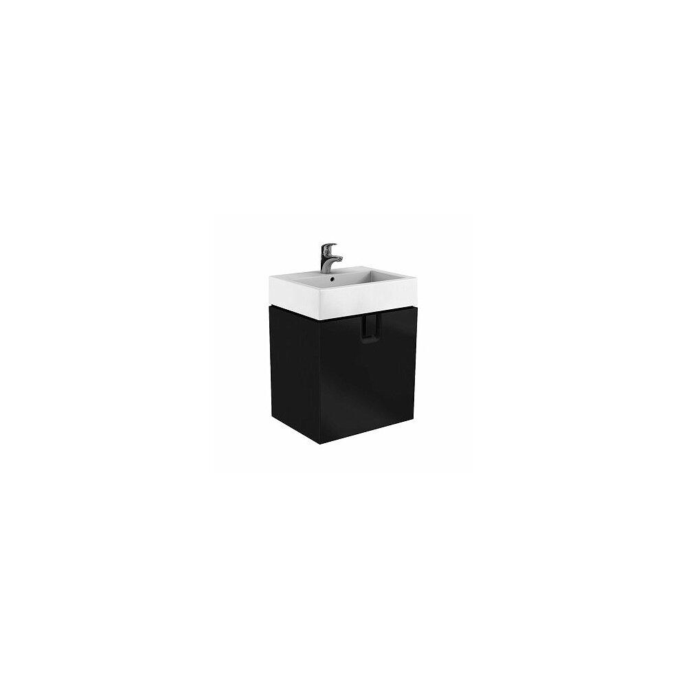 Dulap baza pentru lavoar suspendat cu sertar Kolo Twins 60 cm, negru mat imagine