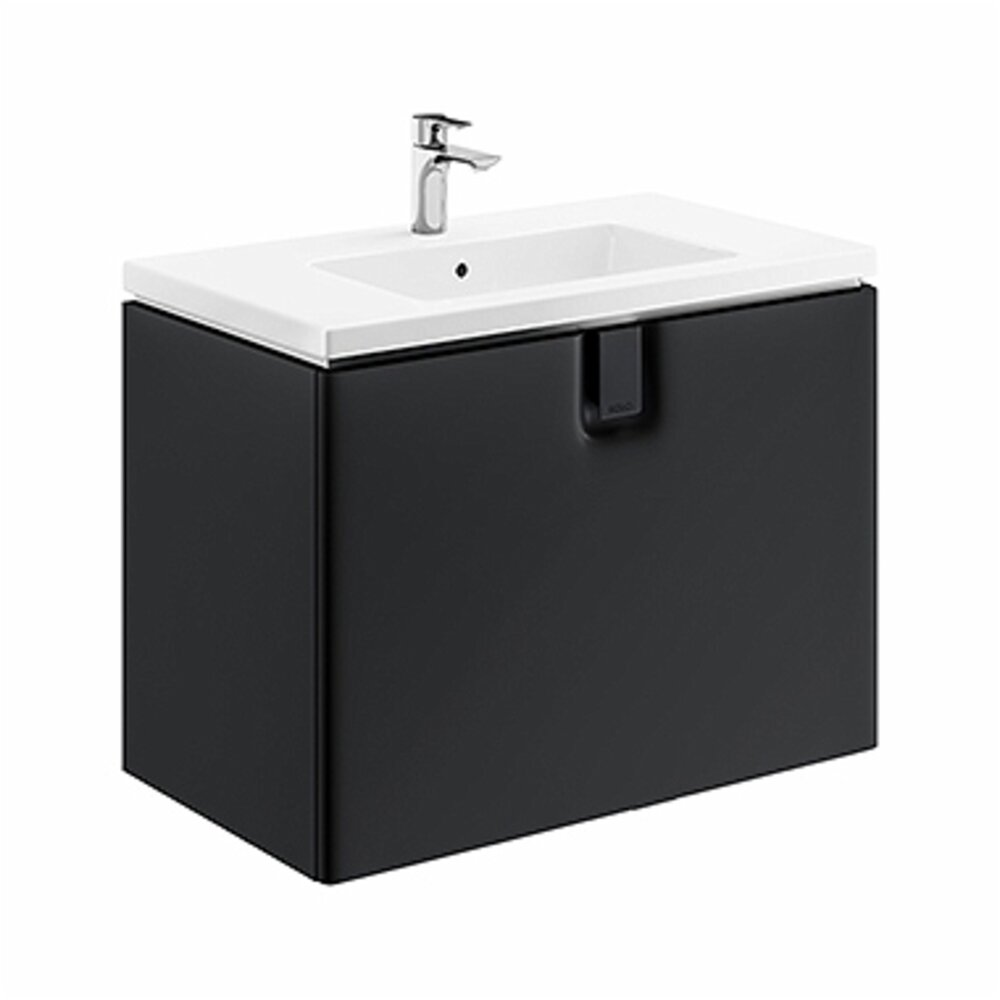 Dulap baza pentru lavoar suspendat cu sertar Kolo Twins 80 cm, negru mat imagine