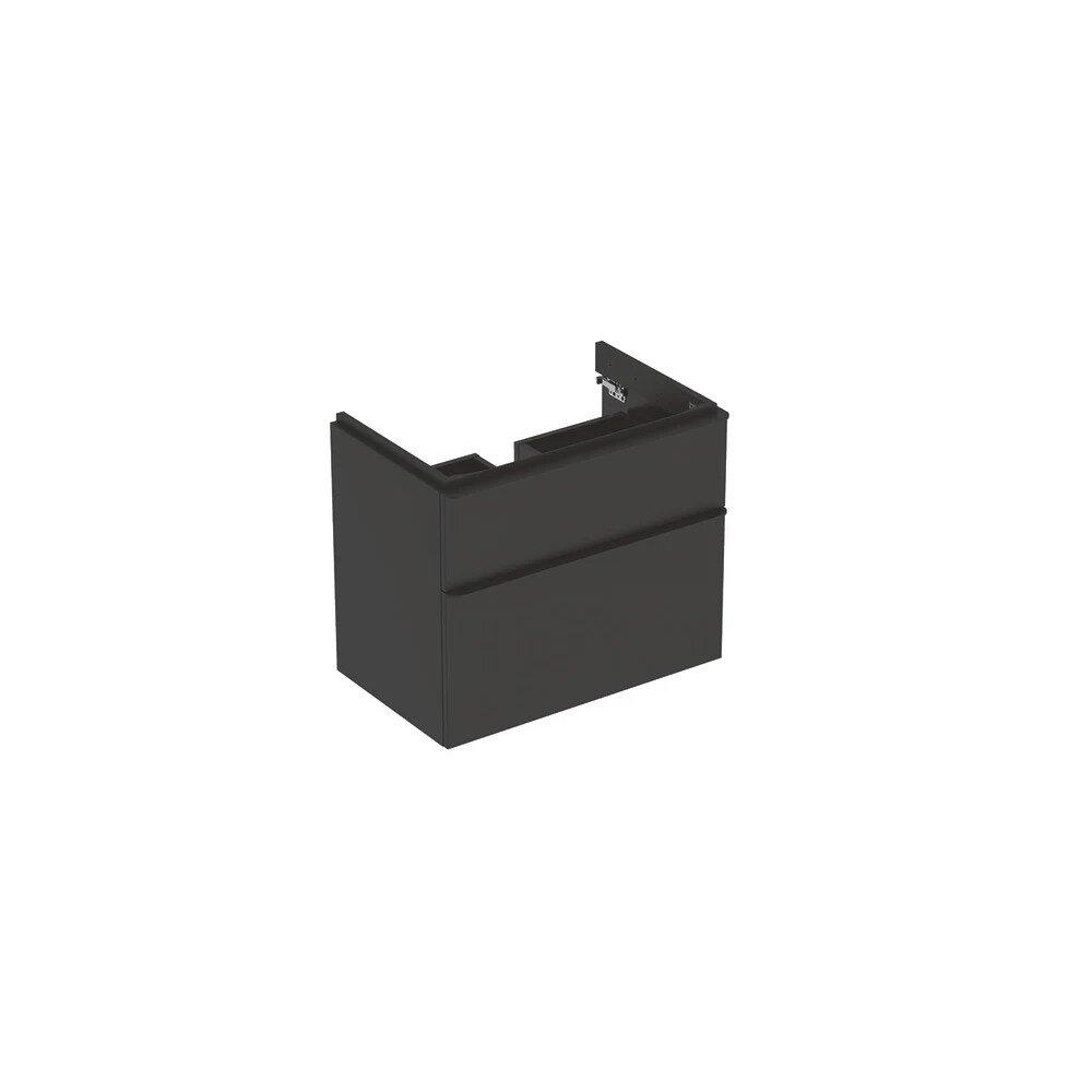 Dulap baza pentru lavoar suspendat Geberit Smyle Square negru 2 sertare 74 cm