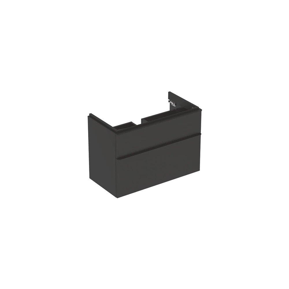 Dulap baza pentru lavoar suspendat Geberit Smyle Square negru 2 sertare 89 cm neakaisa.ro