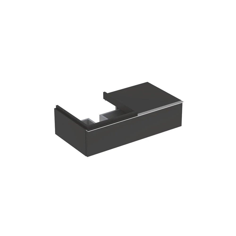 Dulap baza pentru lavoar suspendat negru Geberit Icon 1 sertar si 1 blat stanga 89 cm imagine